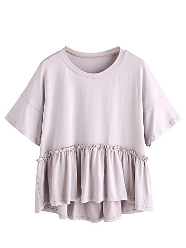 (Romwe Women's Loose Ruffle Hem Short Sleeve High Low Peplum Blouse Top Grey Small)