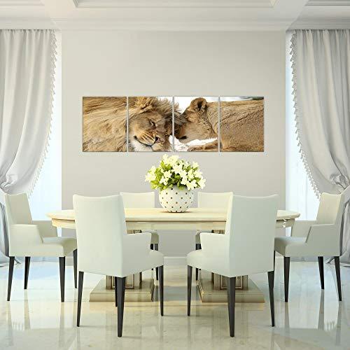 Bilder-Lwen-Liebe-Wandbild-160-x-50-cm-Vlies-Leinwand-Bild-XXL-Format-Wandbilder-Wohnzimmer-Wohnung-Deko-Kunstdrucke-Orang-4-Teilig-MADE-IN-GERMANY-Fertig-zum-Aufhngen-002146a