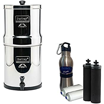 Travel Berkey Water Filter 1.5 Gallon System Bundle: 2 Black BB9 Filters, 2 PF2 Fluoride Filters, 1 Stainless Steel Water Bottle