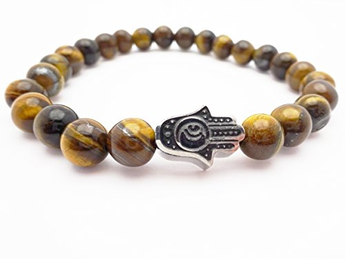 Eye of the Tiger Brown Bead Bracelet with Hamsa by Fine Jewelry 4 Me (Image #2)
