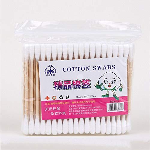 Topdo 1/bo/îte Cotons-tiges hygi/ène de Coton avec Double Pointe en Bois Coton Coiffe Coton applicateur cosm/étique pour Maquillage Bijouterie et Oreille,1/bo/îte 100/PCS
