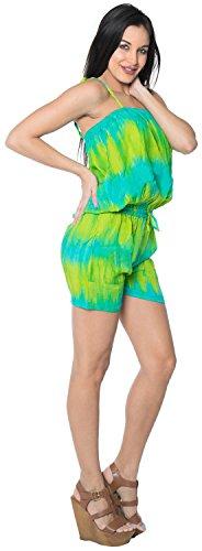 La Leela Tasche Shorts & Overalls Dehnbar Tie Dye Glatt Sanft Leichte Badeanzug Bikini Rayon Frauen Verschleiern Playsuit Spielanzug Türkis s m lRvVH5J1