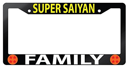 Super Saiyan Family Glossy Black Plastic License Plate Frame Dragonball Z