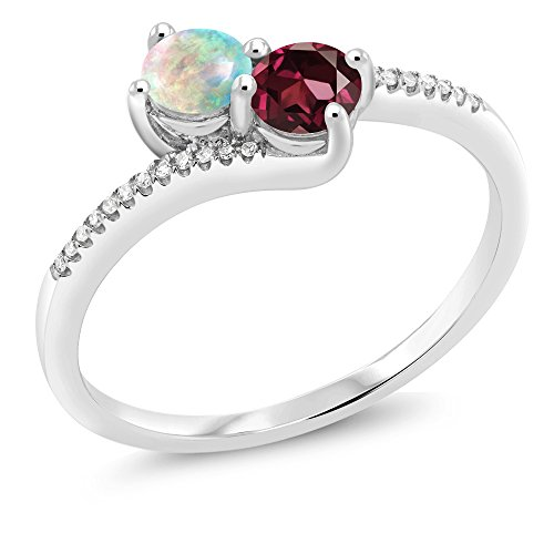 10K White Gold Forever United Two-stone Diamond Right-hand Engagement Birthstone Ring Cabochon Simulated Opal Red Rhodolite Garnet (0.79 cttw, Engagement Birthstone Ring Size (10k Rhodolite Ring)