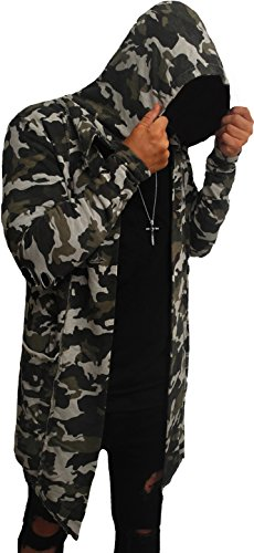 Camouflage Oversize Designer Sweat Jacke Cardigan Hoody Pullover Shirt Herren Hoodie Longsleeve m NEU Kapuzenpullover long Sweatjacke skater hip hop Sweatshirt Pulli longshirt body dope swag deep neck