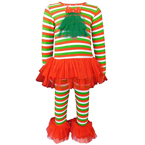 AnnLoren Baby Girls' Christmas Tree Tulle Skirt Candy Cane Outfit 12-18 mo Red Green (Outfit Annloren Christmas Tree)