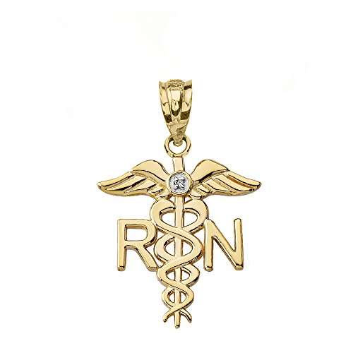 14k Yellow Gold Solitaire Diamond Caduceus RN Charm Registered Nurse Pendant