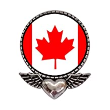 GiftJewelryShop Ancient Style Silver Plate Canada flag Heart With Angel Wings Pins Brooch