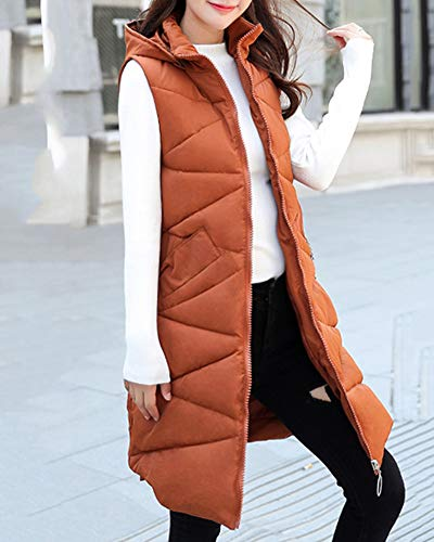Gilet Vest Quilted Jacket Padded Zip Up Women Bodywarmer Puffer Sleeveless Hoodie Brown Wxq0O6xwH