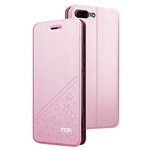 MXNET IPhone 7 Plus Case, PU Fünfzackiges Star Pattern Horizontales Flip Leder Etui mit Halter CASE FÜR IPHONE 7 PLUS ( Color : Rose gold )