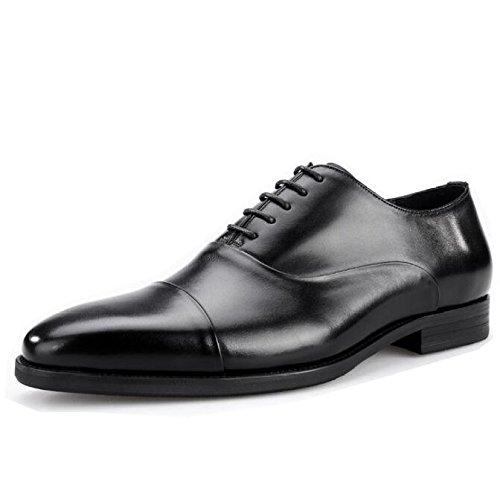 Scarpe da Uomo in Vera Pelle Oxford Brogue Business Dress Lace-up Dress Shoes Casual Wedding Black