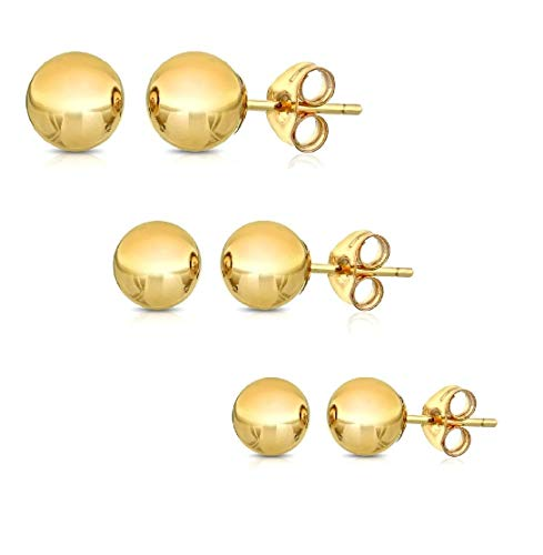 Peermont 925 14K Solid Gold Ball Stud Earrings (3-Pair-Pack) 3MM 4MM and 5MM... Choose a Color (Yellow)