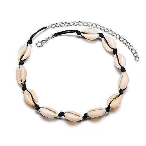 SNOWLIN Handmade Natural Shell Choker Necklace Hawaii Sea Bead Choker Jewelry Women's Cowrie Shell Necklace Boho Beach Jewelry for Womens and Girls (Black Shell 2) -