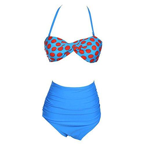Mujeres Vintage alta cintura Wave punto Bikini Set Strappy Push Up traje de baño Blue