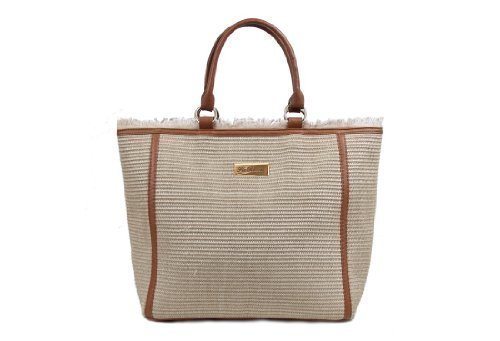 Natural Straw Tote Bag Large Beach Bag with Tan Trim Lazise Design ...