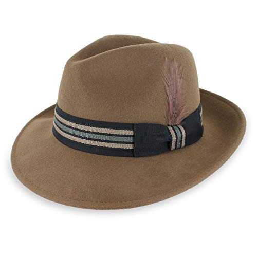 (Belfry Crushable Dress Fedora Men's Vintage Style Hat 100% Pure Wool in Black Blue Grey Pecan Brown (Small, BoyerPecan))