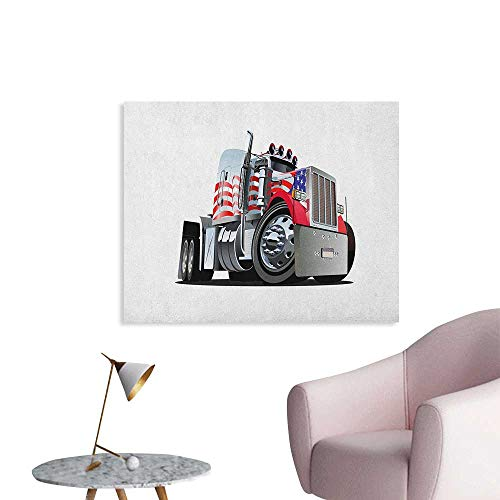 Mural Semi - Anzhutwelve Truck Mural Decoration American Flag Themed Semi 18 Wheeler Patriotic Transportation Industrial Vehicle Poster Paper Red White Blue W32 xL24