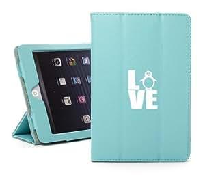 Apple iPad Mini Light Blue Faux Leather Magnetic Smart Case Cover LM1870 Love Penguin