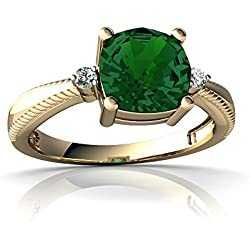 14kt Gold Lab Emerald and Diamond 6mm Cushion Cushion Rope Ring