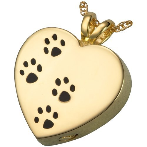 Memorial Gallery Pets 3167gp Silver Paw Prints On My Heart 14K Gold/Silver Plating Pet Jewelry