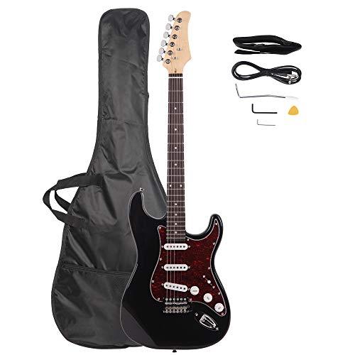 LAGRIMA 39″ Full Size Beginner Electric Guitar Starter Kit with Power Cord, Guitar Bag, Shoulder Strap and Plectrum (Black)