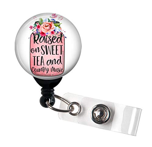 (Raised on Sweet Tea and Country Music - Retractable Badge Reel with Swivel Clip and Extra-Long 34 inch Cord - Badge Holder)