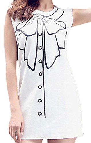erdbeerloft - Damen Ärmelloses Minikleid mit Print, 34-42, Weiß