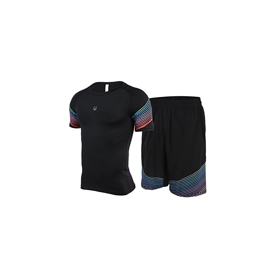 Fight Eagle Men's Short Sleeve Compression T Shirt and Running Shorts Set 2 Pieces Gym Workout Suit