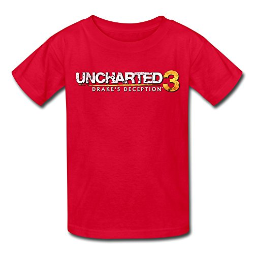 Price comparison product image QMY Kid's Vintage Uncharted 3 GAME Logo T-shirts Size S Red