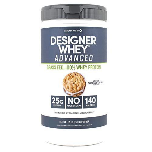 Designer Whey Grass Fed Protein Powder, Vanilla Cookies & Cream, 1.85 Pound, Non GMO