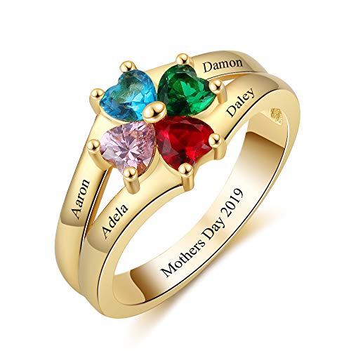 OPALSTOCK Personalized 4 Simulated Birthstones Mothers' Rings Engraved 4 Name Rings Promise Rings Valentine's Day Jewelry for Women (8) -