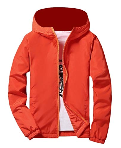 Jacket Orange Mens Thicken up Zip Pure Coat Outwear Energy Windbreaker Varsity zUdqwvv