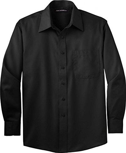 (Port Authority Men's Tall Long Sleeve Non-Iron Twill 4XLT Black)