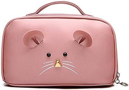 Amio Estuche de maquillaje, Estuche de cosméticos para ratón de dibujos animados de gran capacidad, Estuche de cosméticos de viaje portátil, Caja de almacenamiento de joyas de belleza (Color : Pink): Amazon.es: