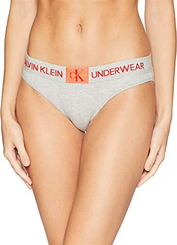 Calvin Klein Women's Monogram Bikini, Grey Heather, Large