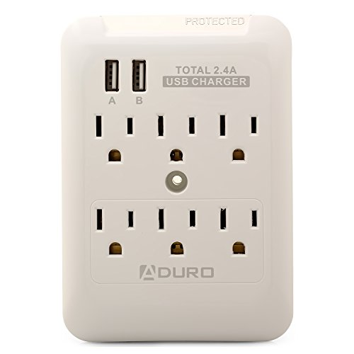 Aduro Power Surge Protector 6 Outlets and 2 USB Ports 2.4A Output Multi Outlet Cell Phone Charging and AC Station (White)