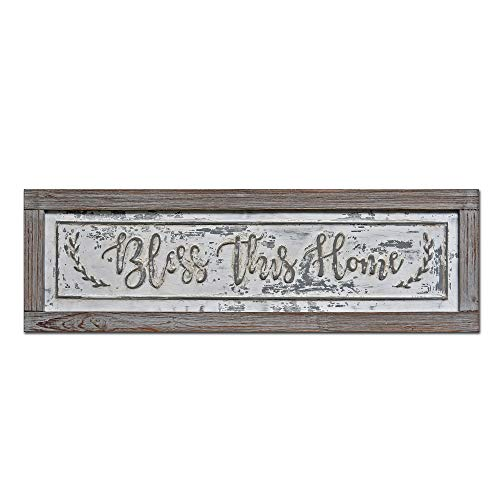 PrideCreation - 36x11 inch Bless This Home Rustic Wood Framed Metal Sign Wall Decor Art, Inset Embossed Wood and Metal Farmhouse Sign Decor, Vintage Decorative Sign, Distressed Grey/White (Framed Metal Wall Decor)
