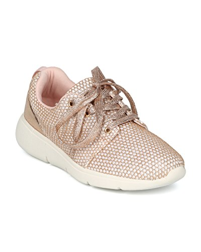 Alrisco Women Glitter Mesh Lace Up Lage Top Jogger Sneaker - Hg96 Door Fahrenheit Collection Rose Gold Mix Media