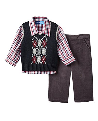 Great Guy Infant Baby Boys Argyle Sweater Vest, Plaid Shirt & Pants Set, Black (12 Months)