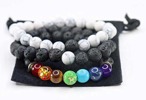 Yoga is Lyfe 7 Chakra Bead Bracelet with Real Stones 3 Pack 8mm Lava Rock Gemstones Reiki Healing Heart Anxiety Bracelet Essential Oil Diffuser Yoga Meditation Aromatherapy Bangle for Men Women Kids