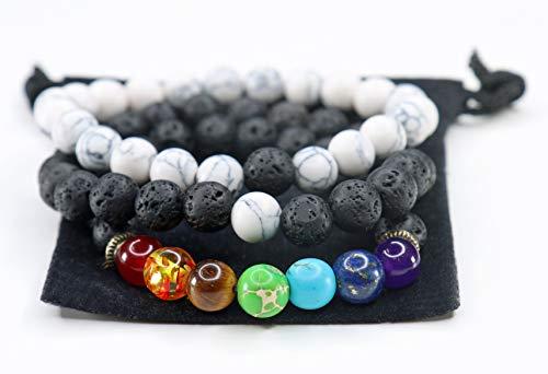 Yoga is Lyfe - Anxiety Bracelets Chakra Bracelets Aromatherapy Healing Bracelets Lava Rock Stone Reiki Meditation Bracelets Real Stones Yoga Beads Essential Oil Bracelets for Women Kids Men (Black)