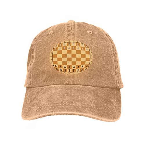 (Hip Hop Baseball Cap Adjustable Denim Jean Hat Set Chess International Day Hand Drawn Stock Ideal Sand Color)