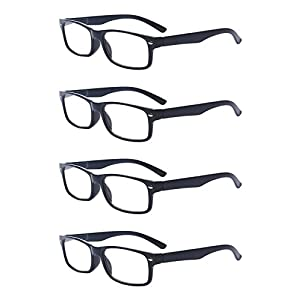Outray Men Or Women 4 Pack Spring Hinges Frame Rectangular Reading Glasses 1.50