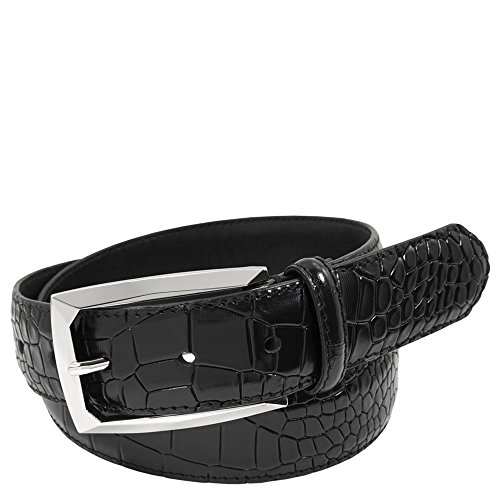 (Stacy Adams Men's Ozzie Croc Embossed Belt, Black, 38)