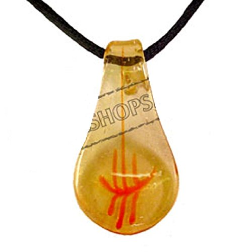 (Murano Glass Teardrop Pendant - Yellow & Orange)