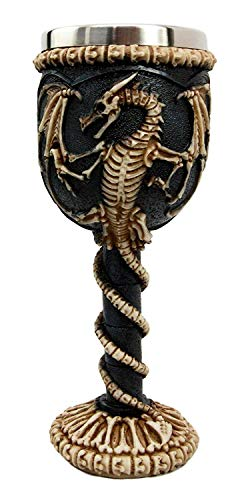 Bellaa 22487 Medieval Dragon Skeleton Ossuary Goblet Wine Chalice Resin Body Stainless -