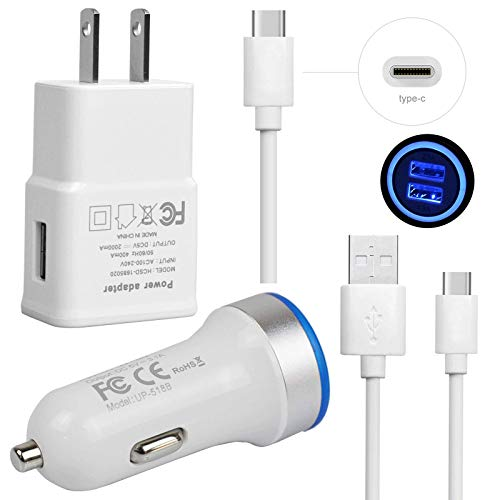 Cell Phone Charger Bundle-LED Fast Dual USB 3.1A Car Charger+Home Travel Wall Adapter+2xType-C Cable-Accessory Kit for Samsung Galaxy S10e S10 S9 S8 Plus Note 8 9 LG V50 V40 V35 G7 ThinQ Stylo 4 G8 G6 from TECHOST