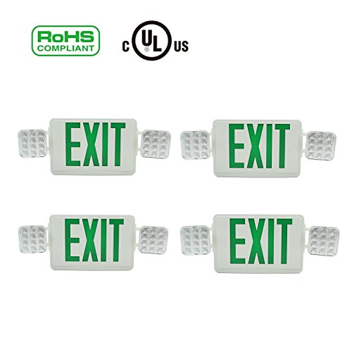 Doitpower 4 Pack LED Exit Emergency Lighting,Back -up Letter Cover,LED Exit Sign Emergency Wall Light, 120V/277V AC Dual Voltage Operation Green Letter(4 Pack) ()