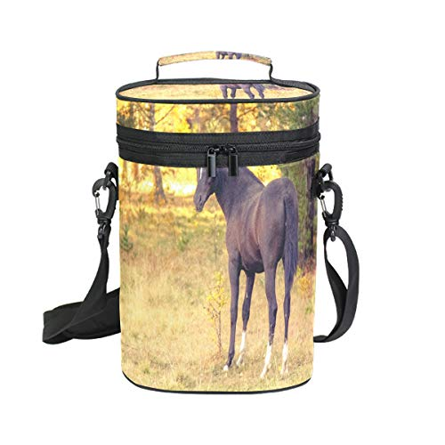 Insulated Wine Carrier Tote Bag Autumn Horse 2 Bottle Travel Padded Wine Carrying Cooler Bag with Handle and Adjustable Shoulder Strap, Great Wine Lover Gift