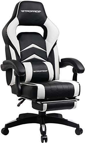 Gaming Chair Racing Style Reclining Office Swivel Computer Desk Ergonomic Conference Executive Manager Work Chair PU Leather High Back Adjustable Task Chair with Lumbar and Padded Footrest (White1)